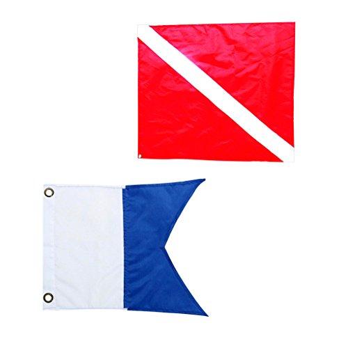 Sharplace 2pcs Drapeau De Plongée en Nylon Drapeau de Cabine de Bateau Outil de Marquage Bleu Rouge Blanc