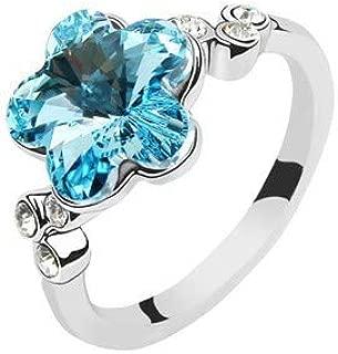 Robella Swarovski Elements Ring Encrusted With Blue Swarovski Crystals ROB-041 Size 7