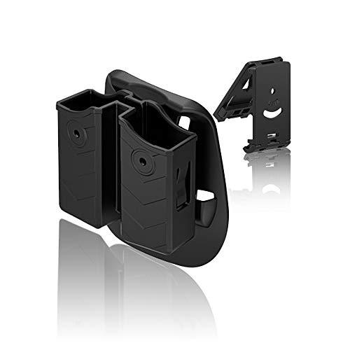 efluky Portacargador Doble Funda para Pistola Cargador Bolsa Universal Portacargador Doble para H&K USP FS/Compact 9mm/.40/Beretta/Glock/Walther/Sig Sauer/CZ, Belt Clip+Paddle 60° Adjustable