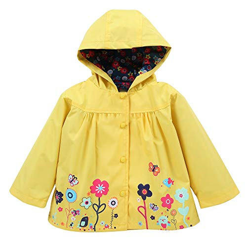 H.eternal Baby Girls Boy Hooded Coat Jacket & Overtrousers Outwear Raincoat Suit Super Waterproof Carton Outdoor Lightweight Cagoule (Yellow, 12-18 Months)