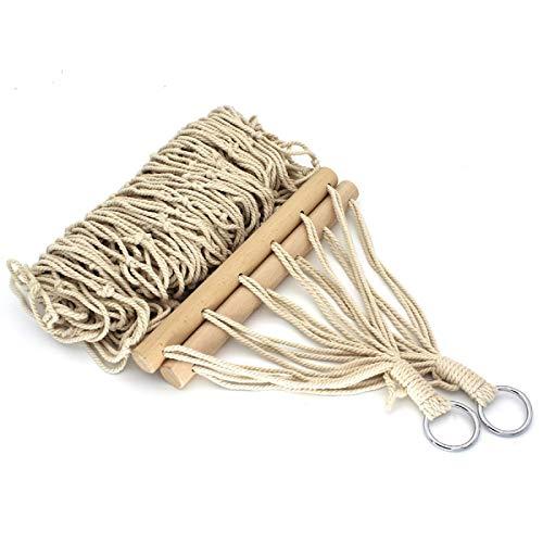 Hamaca de Cuerda de Algodón Hamaca de Malla Plegable con Bolsa de Almacenamiento para Patio Jardín