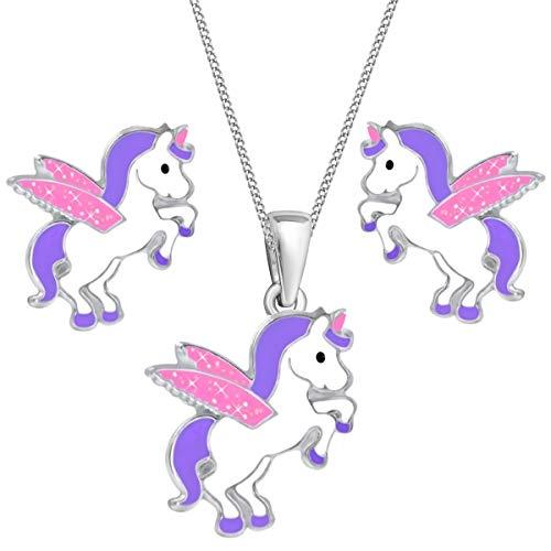 Glitzer Flügel Pegasus Einhorn Set Anhänger Kette Ohrstecker 925 Echt Silber Kinder Mädchen (Lila-Rosa, 38)