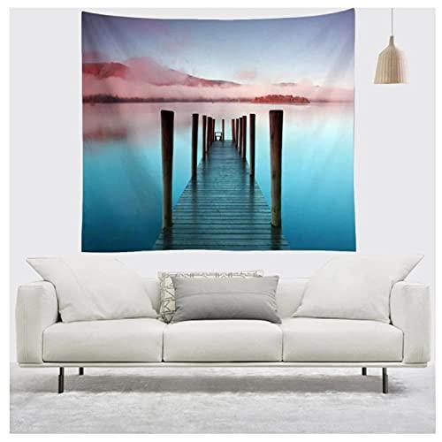 KBIASD Cartel de Paisaje Natural Cielo mar Amanecer Tapiz Colgante de Pared estética fantasía Paisaje tapices Mantas Yoga Mats-150 * 130cm