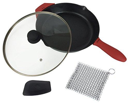 """Juego de sartenes de hierro fundido de 12\"""", pre-sazonado, que incluye 1 soporte de mango caliente de silicona grande y 1 de asistencia, 1 tapa de vidrio, 1 limpiador de hierro fundido 7x7\'\', raspador"""