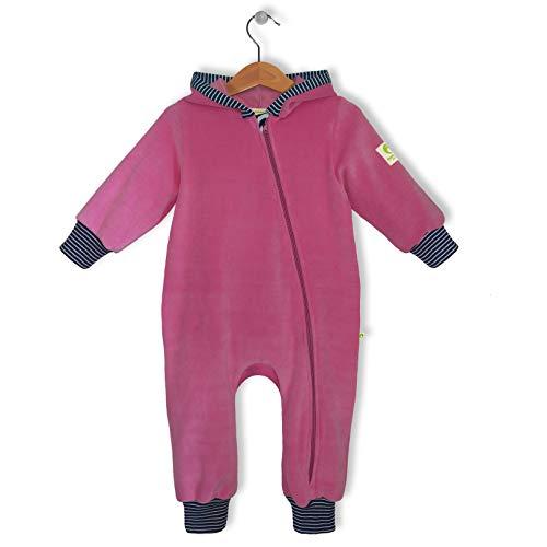 bubble.kid berlin - Made in Germany - Baby Mädchen Jungen Unisex Ganzjahres Anzug Overall Einteiler Jumpsuit Onepiece - kuschelweicher Nicki, RV-Schutz (74-80 (6-12 Monate), Rose)