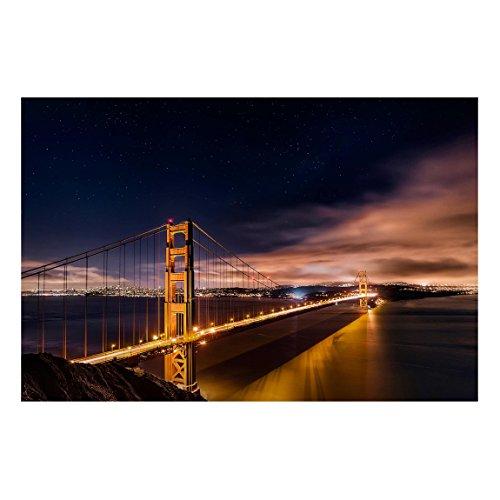 Bilderwelten Pizarra magnética - Golden Gate to Stars - Formato apaisado 2:3 magnéticas Decoracion murales Mensajes Impreso metálica Pizarra imantada Pizarra para Cocina Oficina, Tamaño: 40cm x 60cm