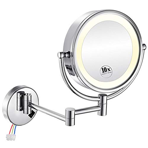 GURUN LED Lighted Wall Mount Makeup Mirror with 10x Magnification for Bathroom and Bedroom,13' Extendable Arm,Chrome Finish,Direct Wire M1809D(10x,Chrome)