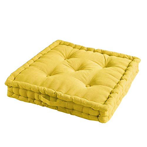 Cojín de Suelo, 45 x 45 x 10 cm, algodón Liso, Amarillo, 60 x 60 x 10 cm