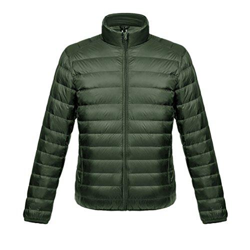 LvRao Ultra Leicht Daunenjacke für Herren Stehkragen Daunen Mantel Winter Übergangsjacke Gesteppt Langarm Steppjacke (Armee Grün, CN XL)