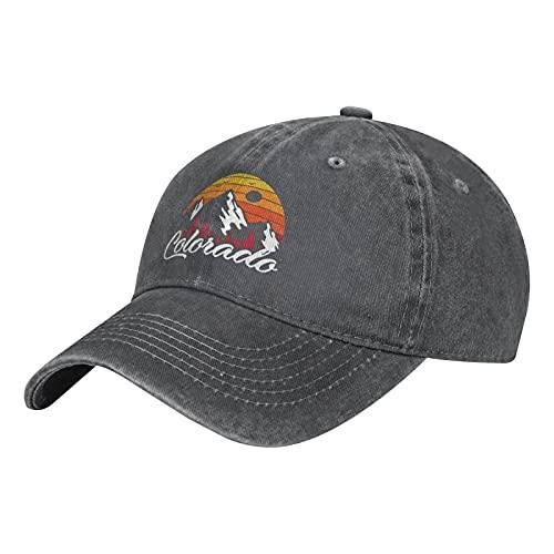 Colorado Mountain and Sun-1 Hats Cotton Washable Baseball Caps Adjustable for Man Woman Deep Heather