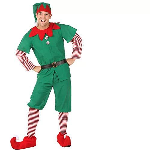 Disfraz de Duende de Navidad para Hombres, Mujeres y niños Navidad, Carnaval y Cosplay (180cm, Hombres)