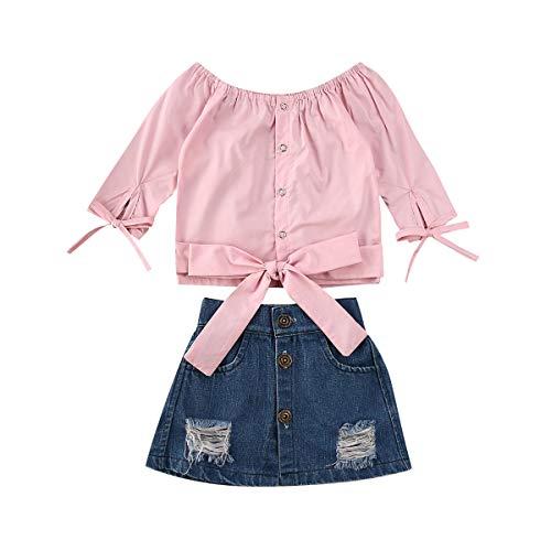 Conjunto de roupas infantis de verão com ombro de fora, manga comprida, camiseta jeans e saia, rosa, 6-12 meses
