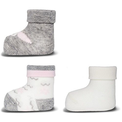 Ewers 3er Set Baby-Socken Erstlingssöckchen Schmetterling glatt grau mel/latte