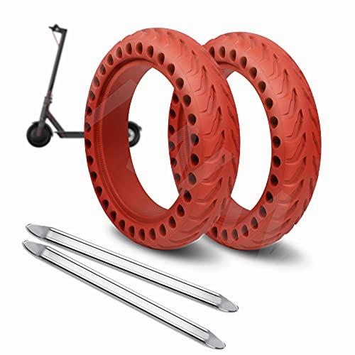 ANSENI® Ruedas Macizas Roja para Patinete Electrico Rueda de 8.5 Pulgadas, Neumáticos de Reemplazo, Rueda de Repuesto Antipinchazo Compatible con Xiaomi Scooter Electrico M365/Pro/1S Patinete Cecotec