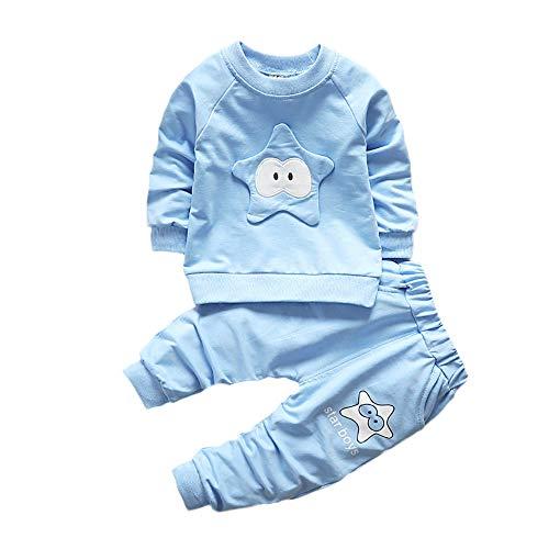 Logobeing Ropa de Bebé Niño Niña Animales 2 Piezas Camiseta de Manga Larga + Pantalones Conjunto de Ropa 2018 Ofertas (3-6Mes, Azul)