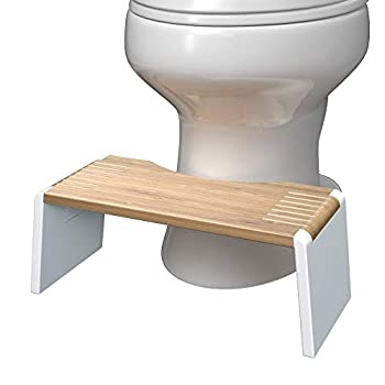 Squatty Potty Stockholm Folding Bamboo Toilet Stool 7  Collapsible Brown and White 1 Count