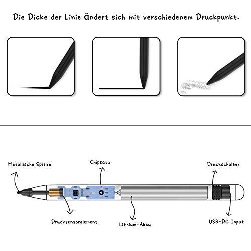 Active Stylus Stift für Tablets & Smartphone Touchscreens, Active Pencil Hochpräziser Eingabestift Wiederaufladbarer Stift zum Zeichnen, Schreiben für Apple iPad, iPhone, Samsung
