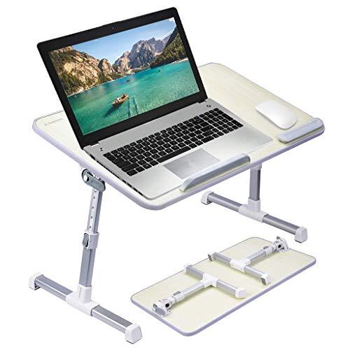 Verstellbarer Laptopbetttisch, tragbarer, stehender Schreibtisch, faltbares Frühstückstablett, Notebookständer, Lesehalter für Spielspiele, Arbeitslesediät auf dem Bett (Größe: 60 * 33 cm)