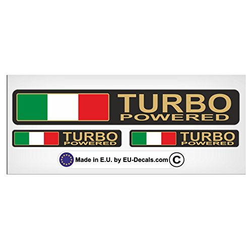 MioVespa Collection Aufkleber, Motiv: Turbo Powered, italienische Flagge, mit goldfarbenen Buchstaben, laminiert, hochwertig, 3 Stück