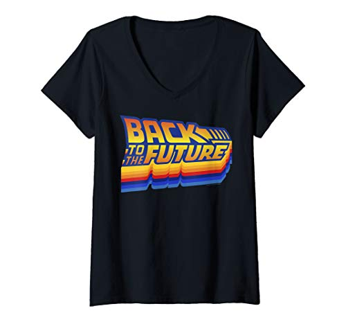 Women's Back To The Future Retro 80s Logo V Neck T-shirt, 4 Colors, S to 2XL