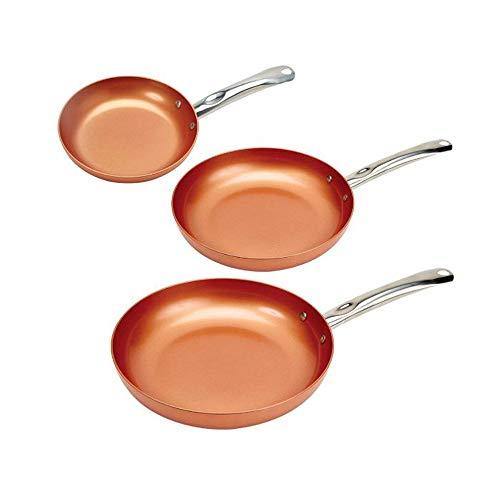 Padella antiaderente Padella antiaderente Copper Red Pan Ceramica Induzione Padella Padella Rivestimento e cottura a induzione, Forno e lavastoviglie 24 cm