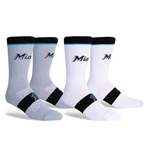 PKWY Unisex 2-Pack Marlins Crew Socks (Marlins Home Away Crew 2 Pack, l)