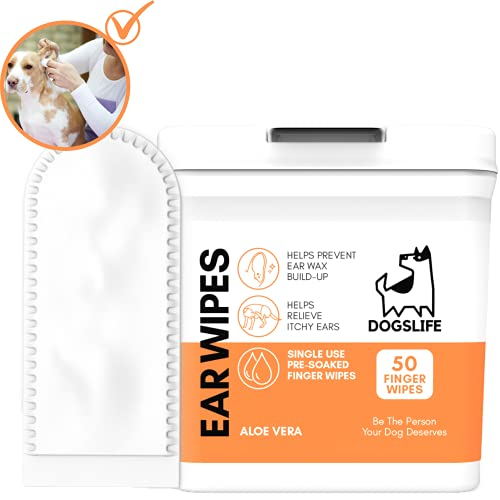 Dog Ear Wipes | Soft, Quick & Easy Ear Wipes for Dogs | Remove Wax, Dirt & Stop Smelly, Itchy Dog Ears | 50 Soothing Aloe Vera Dog Ear Cleaning Finger Wipes!