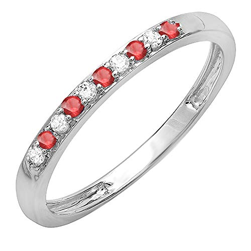 Dazzlingrock Collection 10K Round Ruby & White Diamond Ladies Wedding Band Ring, White Gold, Size 7