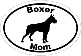 WickedGoodz Oval Vinyl Boxer Mom Decal, Dog Bumper Sticker, Pet Owner Gift