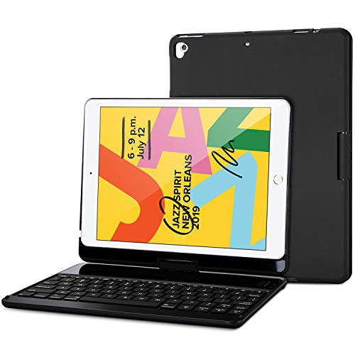 ProCase iPad 7th Generation Case with Keyboard, iPad 10.2 2019 Keyboard Case with 360 Degree Rotation Protective Smart Cover Case with Wireless Keyboard, 7 Colors Backlight–Black