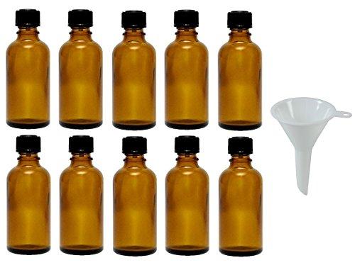 Viva Haushaltswaren - 10 x Tropfflasche 50 ml, Mini Glasflaschen mit Tropfeinsatz aus Braunglas, als Apothekerflasche verwendbar - Made in Germany & BPA frei (inkl. Trichter Ø 5 cm)