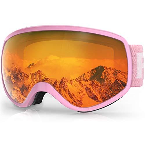 findway Skibrille Kinder, Snowboardbrille Helmkompatible Schneebrille Verspiegelt 100% UV-Schutz...