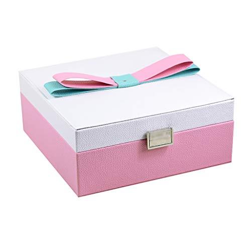 ZZL Caja de Joyería Jewelry Box Organizer Reflejado Pequeño 2 Capas Joyas Viajes Funda Pendiente Pulsera Pulsera Mujeres Jewelry Box (Color : Pink)