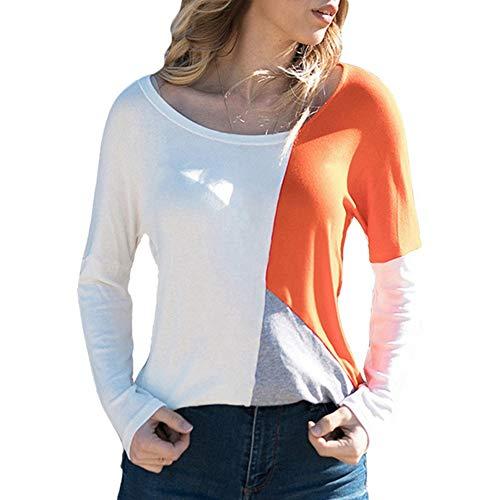 NDJqer Women Sweater Pullover Patchwork Shirt Women Casual Loose Top Tee Shirt Sexy V-Neck White Orange XL
