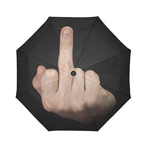 WECE Hipster Mittelfinger Winddicht Compact One Hand Automatische Öffnen und Schließen Zusammenklappbar Regenschirme, Funny Kompakte Reise Schirm Regen Outdoor Regenschirme, Schwarz