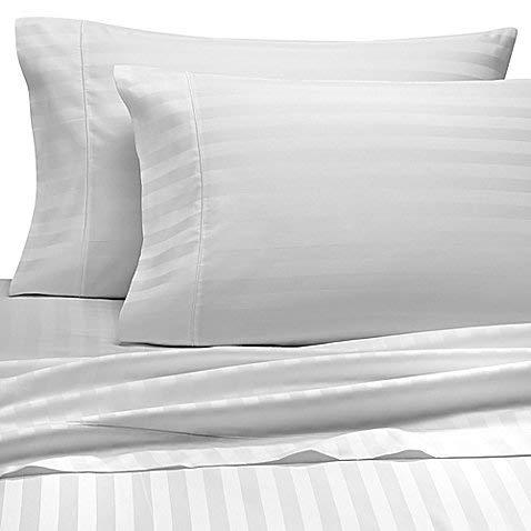 Wamsutta 500-Thread-Count PimaCott King Pillowcases in White Stripe (Set of 2)