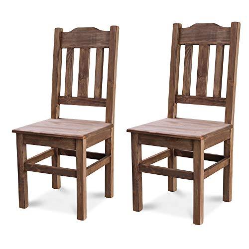 Elean 2 er Set Kuechenstuhl (HSL-02) Holzstuhl Esszimmerstuhl Stuhl mit Lehne Kiefer massiv vollholz zusammengebaut Verschiedene Farbvarianten Neu (Palisander)