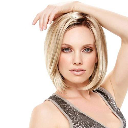 JYXJJKK peluca Corto/Medio Longitud rectas raíces oscuras Señora de la peluca de las mujeres Ombre de oro Rubia de pelo Bobo pelucas importación alambre de alta temperatura de calor sintético resist