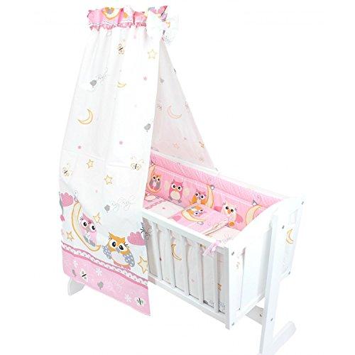 TupTam Unisex Baby Wiegen-Bettwäsche-Set 6-TLG, Farbe: Eulen Rosa, Anzahl der Teile:: 6 TLG. Set