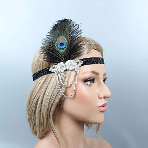 Serre-tête en cristal inspiré des années 1920 pour femme avec plume de paon Inspiré de Great Gatsby Avec plume Pour mariée