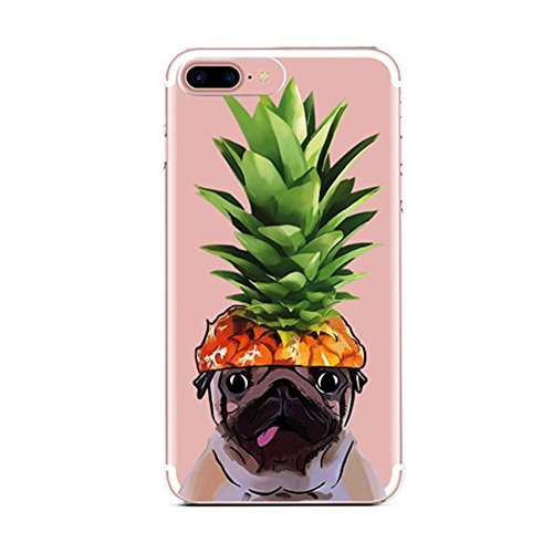 iPhone 6 Case,iPhone 6s Case,French Bulldog Girls Funny Pineapple Hat Dog Pet Dog Hawaii Tropical Summer Hipster Fruits Upper Pineapple Clear Rubber Case for Girl for iPhone 6/6S