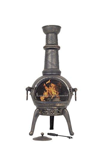 BRONZE 112CM HIGH CAST IRON CHIMINEA CHIMENEA CHIMNEA WITH BBQ GRILL