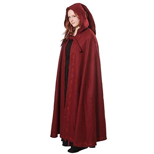 Mittelalter Umhang Damen mit Kapuze und Stickerei Wolle rot