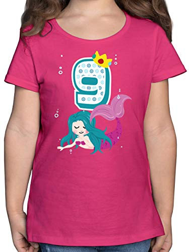 Geburtstag Kind - Meerjungfrau 9. Geburtstag - 152 (12/13 Jahre) - Fuchsia - Kinder Shirt meerjungfrau 5 - F131K - Mädchen Kinder T-Shirt