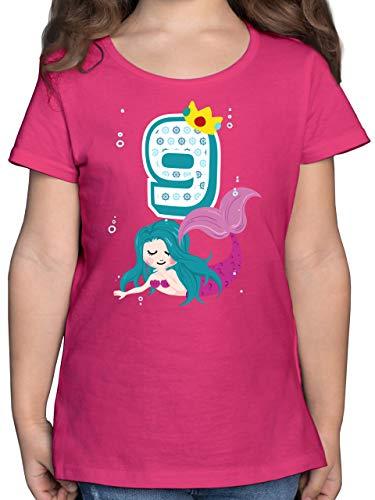 Geburtstag Kind - Meerjungfrau 9. Geburtstag - 140 (9/11 Jahre) - Fuchsia - Kinder Shirt meerjungfrau 5 - F131K - Mädchen Kinder T-Shirt