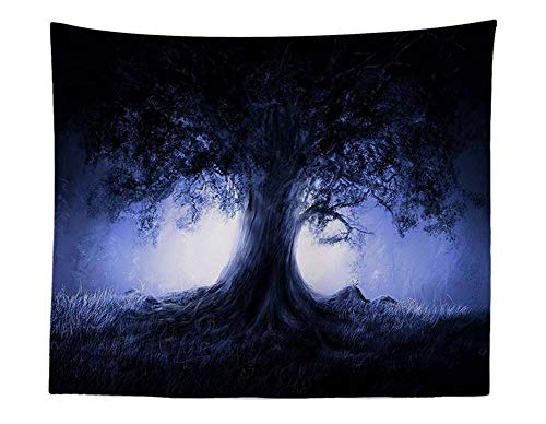 CHSUNHEY tapisserie Psychedelic Tree Tapestry Tree Of Life With Purple Light Print Wall Tapestry Modern Art Spiritual Meditation Wall Hanging Boho Misty Forest Wall Blanket Natural Landscape Wall Clot
