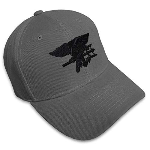 Baseball Cap Navy Seal Black Logo Embroidery Military Insignias Acrylic Hats for Men & Women Strap Closure Dark Grey Design Only