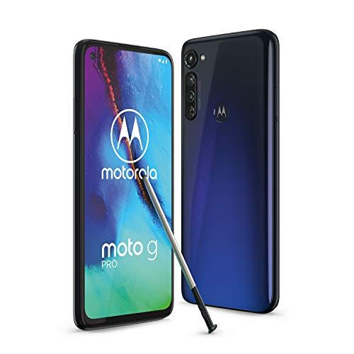 "moto g pro Dual-SIM Smartphone (6,4\""-Max Vision-FHD-Display ohne Notch, 48-MP-Dreifach-Kamerasystem, 128 GB/4 GB, Android 10) Blau inkl. Schutzcover + Stylus [Exklusiv bei Amazon]"