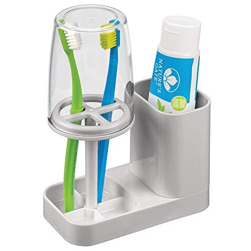 mDesign Portacepillos con vaso para baño – Excelente vaso para cepillo de...