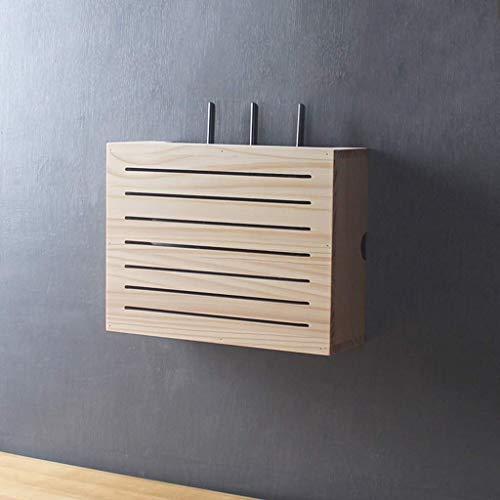 KATLY Holzregale WiFi Router Lagerung Regal Wandschrank Storage Rack Set Top Box Kabelbox Büromöbel Ständer Nicht gestanzt Schwimmdock,D
